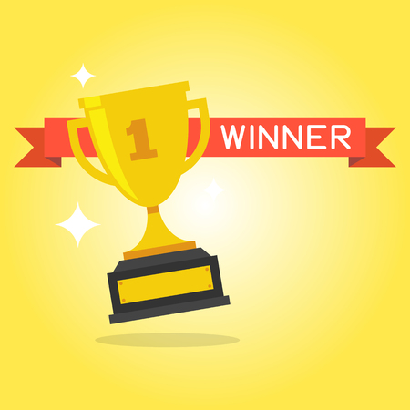 Trophy Cup Vector Flat Icon with number one and red ribbon on yellow background