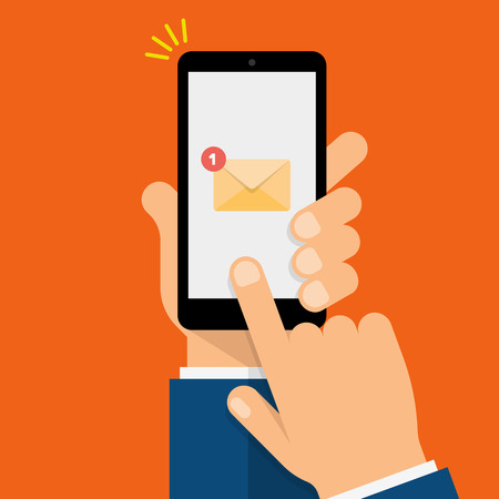 New Email Notification on smartphone screen. Hand holds the smartphone and finger touches screen. Modern Flat design illustration. Reklamní fotografie - 83256655