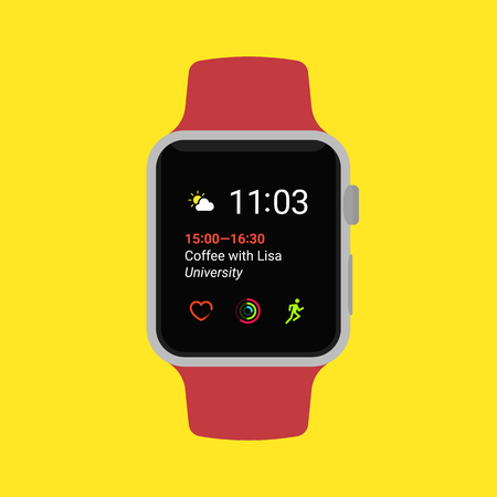 Flat smart watch isolated on yellow background. Modern vector illustration.