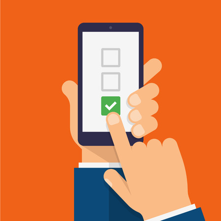 Checkboxes and checkmark on smartphone screen. Hand holds the smartphone and finger touches screen. Checklist modern flat design illustration. Ilustrace