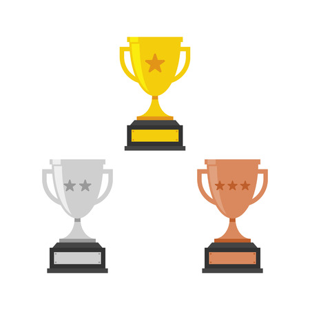 Gold, Silver and Bronze Trophy Cup. Vector Flat Trophy Icon with stars.