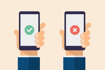 Check and cross mark on smartphone screen. Hand holding smart phone. Modern Flat design illustration.