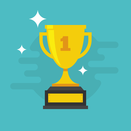 Trophy Cup Vector Flat Icon with number one 일러스트