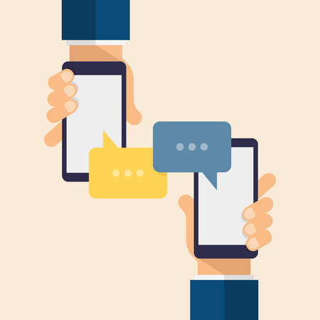 Message icons and smartphones. Hand holds the smartphone. Modern vector flat design.