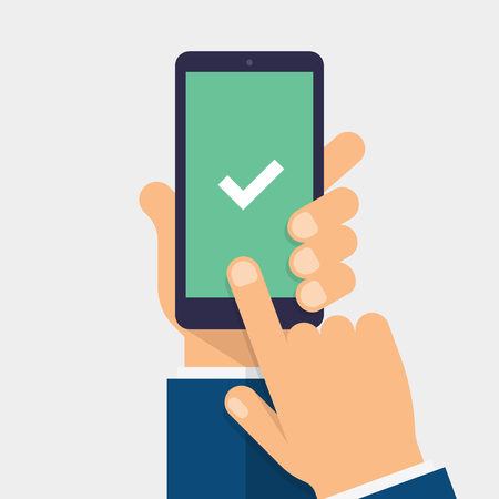 Check mark on smart-phone screen. Hand holding smart phone. Finger on mobile device screen. Modern flat vector illustration. 일러스트