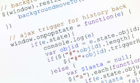 css: close up pgeneric javascript code on computer monitor