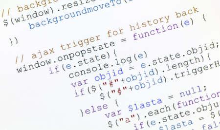 java script: close up pgeneric javascript code on computer monitor