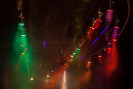 background images: Wide angle photograph of the spotlights at the stage Stock Photo