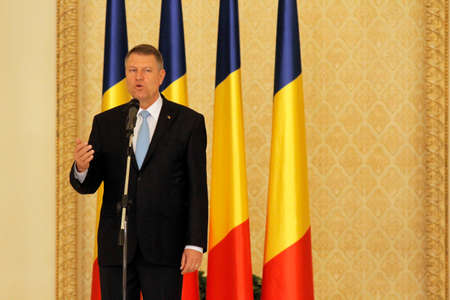 klaus: Romanian President Klaus Iohannis speaks after the swearing in ceremony of Dacian Ciolos Cabinet at Cotroceni Presidential Palace, in Bucharest, capital of Romania, 17 November 2015.