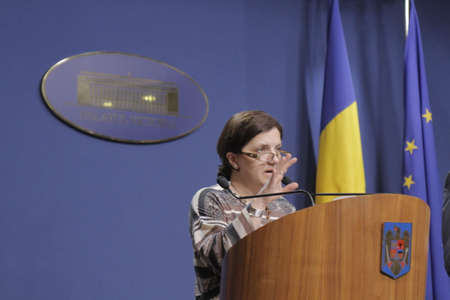 Bucharest, Romania, March 11, 2016: Minister of Justice Raluca Pruna declares that prosecutors will use tapping infrastructure of the Romanian Information Service (SRI) after the Constitutional Court declared taping illegaly.
