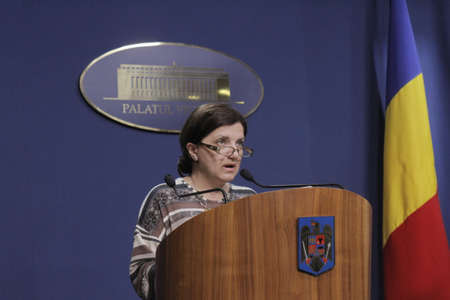 constitutional: Bucharest, Romania, March 11, 2016: Minister of Justice Raluca Pruna declares that prosecutors will use tapping infrastructure of the Romanian Information Service (SRI) after the Constitutional Court declared taping illegaly.