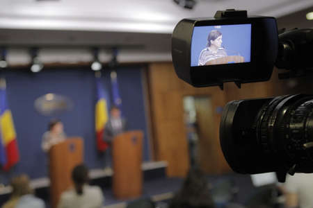 govern: Bucharest, Romania, March 11, 2016: Minister of Justice Raluca Pruna declares that prosecutors will use tapping infrastructure of the Romanian Information Service (SRI) after the Constitutional Court declared taping illegaly.