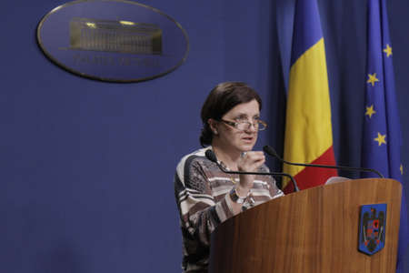 bucuresti: Bucharest, Romania, March 11, 2016: Minister of Justice Raluca Pruna declares that prosecutors will use tapping infrastructure of the Romanian Information Service (SRI) after the Constitutional Court declared taping illegaly.
