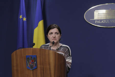 taping: Bucharest, Romania, March 11, 2016: Minister of Justice Raluca Pruna declares that prosecutors will use tapping infrastructure of the Romanian Information Service (SRI) after the Constitutional Court declared taping illegaly.