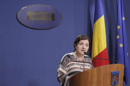 prosecutors: Bucharest, Romania, March 11, 2016: Minister of Justice Raluca Pruna declares that prosecutors will use tapping infrastructure of the Romanian Information Service (SRI) after the Constitutional Court declared taping illegaly.