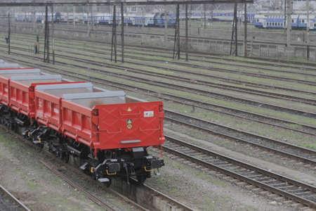 db: Bucharest, Romania, March 13, 2016: DB Schenker freight train is seen the switch yard of Gara de Nord main railway station. Editorial