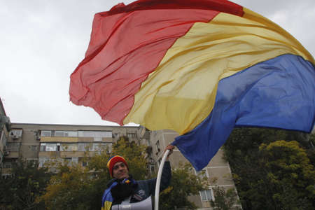 BUCHAREST, ROMANIA - OCTOBER 19, 2016: Hundreds of persons are claiming in the march Fight for Basarabia, a country project project the union between Romania and the Republic of Moldova. Editorial