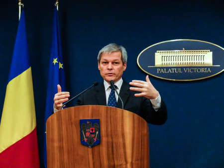 Bucharest, Romania, 1 February 2016: Romanian Prime Minister Dacian Ciolos holds a press conference after an informal meeting of his cabinet, at Victoria Palace, in Bucharest, capital of Romania. Editorial