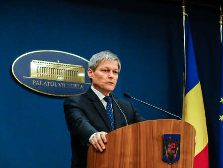 the prime minister: Bucharest, Romania, 1 February 2016: Romanian Prime Minister Dacian Ciolos holds a press conference after an informal meeting of his cabinet, at Victoria Palace, in Bucharest, capital of Romania. Editorial
