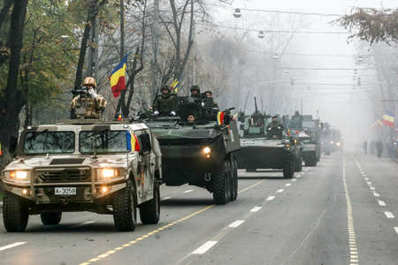 mobilization: BUCHAREST, ROMANIA - DECEMBER 1, 2008: More than 3,000 soldiers and personnel from security agencies take part in the massive parades on National Day of Romania. Editorial