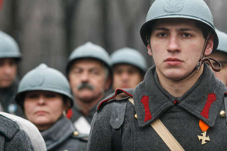 BUCHAREST, ROMANIA - DECEMBER 1, 2010: More than 3,000 soldiers and personnel from security agencies take part in the massive parades on National Day of Romania.