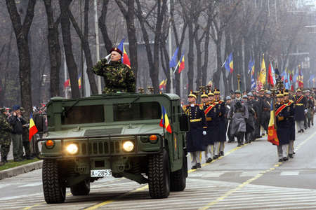 paramilitary: BUCHAREST, ROMANIA - DECEMBER 1, 2009: More than 3,000 soldiers and personnel from security agencies take part in the massive parades on National Day of Romania.