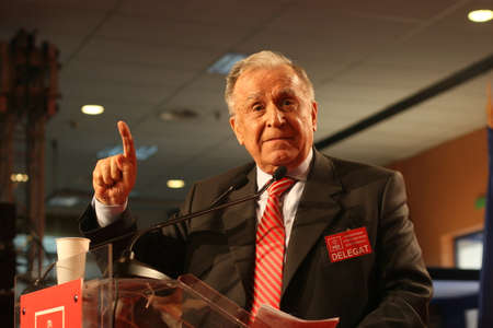 BUCHAREST, ROMANIA - February 20, 2010: Former Romanian President, Ion Iliescu speaks at the National Congress of Social Democrat Party. Editorial