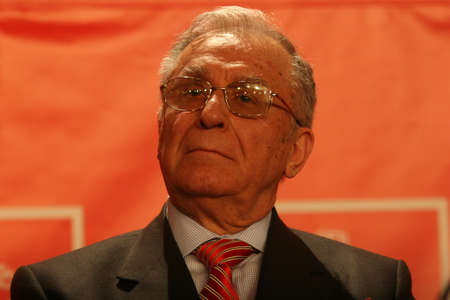 BUCHAREST, ROMANIA - February 20, 2010: Former Romanian President, Ion Iliescu speaks at the National Congress of Social Democrat Party. Editöryel