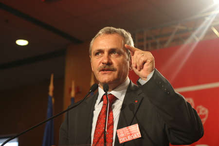 BUCHAREST, ROMANIA - February 20, 2010: Liviu Dragnea, speaks at the National Congress of Social Democrat Party (PSD).