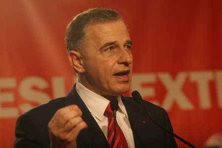 BUCHAREST, ROMANIA - February 20, 2010: Mircea Geoana, speaks at the National Congress of Social Democrat Party (PSD). Editorial