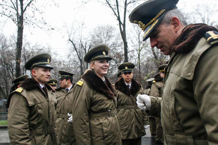 BUCHAREST, ROMANIA - DECEMBER 1, 2010: Military are taking part to a military parade on National Day of Romania. More than 3,000 soldiers and personnel from security agencies take part in the massive parades on National Day of Romania.