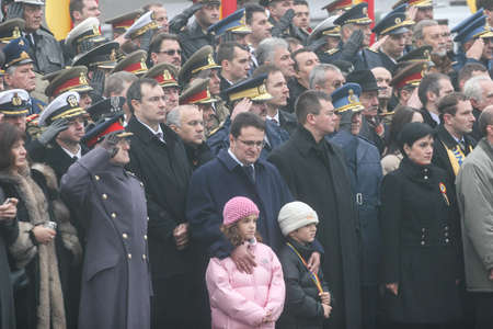 paramilitary: BUCHAREST, ROMANIA - DECEMBER 1, 2008: Romanian officials are taking part to a military parade. More than 3,000 soldiers and personnel from security agencies take part in the massive parades on National Day of Romania. Editorial