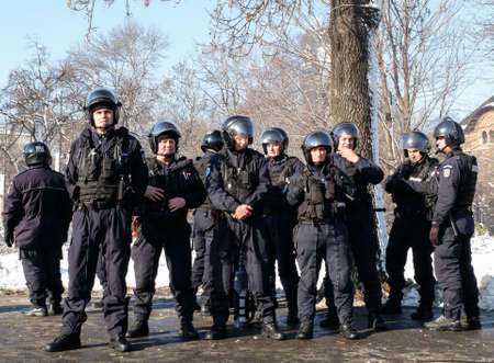 bullet proof: Bucharest, Romania, January 26, 2016: Romanian Gendarmes are participating to a protest in front of the Governmental building, in Bucharest.