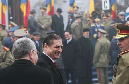 paramilitary: BUCHAREST, ROMANIA - DECEMBER 1, 2009: Prince Paul of Romania is taking part to a military parade on National Day of Romania. More than 3,000 soldiers and personnel from security agencies take part in the massive parades on National Day of Romania.