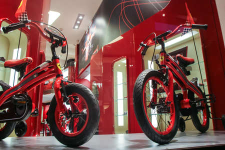 Bucharest, Romania, December 5, 2009: Two Ferrari bicycles are seen in the window at the opening of the Ferrari showroom in Bucharest.