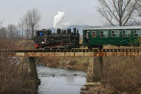 holydays: Brad, Romania, December12, 2009: An old steamed cog train is crossing a bridge in Brad, on winter holydays. Editorial