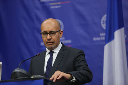 nato summit: BUCHAREST, ROMANIA  - January 30, 2017: Harlem Désir, French Secretary of State for European Affairs speaks at a press conference.