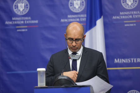 nato summit: BUCHAREST, ROMANIA  - January 30, 2017: Harlem D?sir, French Secretary of State for European Affairs speaks at a press conference.