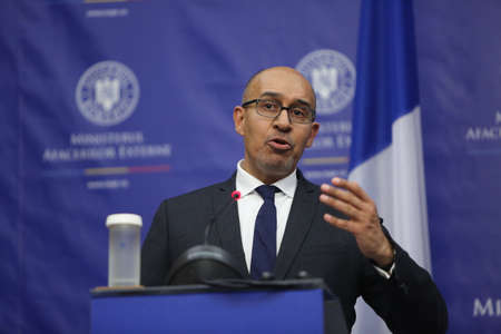 nato summit: BUCHAREST, ROMANIA  - January 30, 2017: Harlem D�sir, French Secretary of State for European Affairs speaks at a press conference.