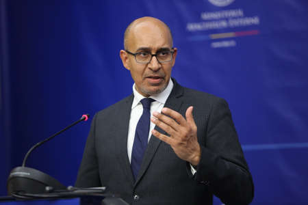 foreign secretary: BUCHAREST, ROMANIA  - January 30, 2017: Harlem Désir, French Secretary of State for European Affairs speaks at a press conference.