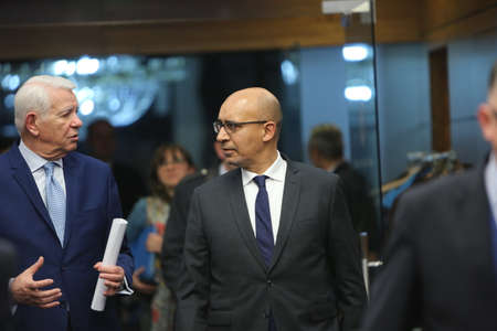 foreign secretary: BUCHAREST, ROMANIA  - January 30, 2017: Teodor Viorel Melescanu, Romanian Minister of Foreign Affairs and Harlem Désir, French Secretary of State for European Affairs speaks walk together before the press conference.