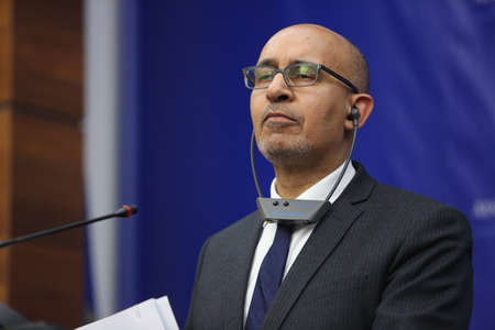 foreign secretary: BUCHAREST, ROMANIA  - January 30, 2017: Harlem D�sir, French Secretary of State for European Affairs speaks at a press conference.
