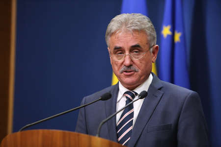 nato summit: BUCHAREST, ROMANIA  - January 31, 2017: Romanian Minister of Public Finance, Viorel STEFAN, speaks at a press conference. Editorial