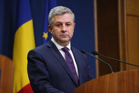 florin: BUCHAREST, ROMANIA  - January 31, 2017: Romanian Minister of Justice, Florin IORDACHE, speaks at a press conference. Editorial