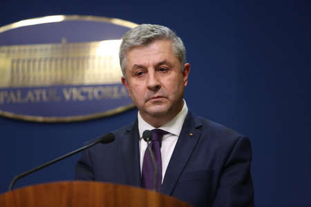 BUCHAREST, ROMANIA  - January 31, 2017: Romanian Minister of Justice, Florin IORDACHE, speaks at a press conference. Editorial
