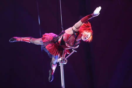 Bucharest Romania, February 18, 2017: A trouper performs at the International Circus Festival hold in Bucharest, at Globus Circus.