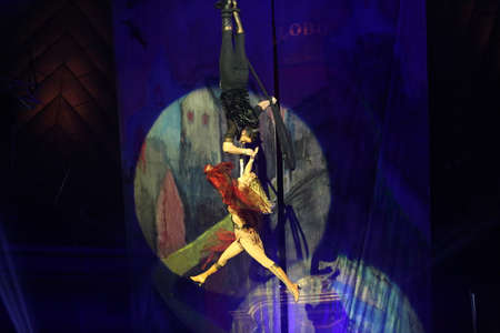 trapeze: Bucharest Romania, February 18, 2017: A trouper performs at the International Circus Festival hold in Bucharest, at Globus Circus.