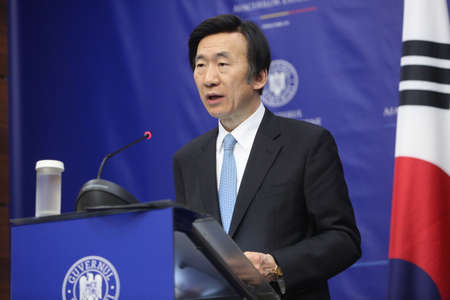 foreign secretary: Bucharest Romania, February 20, 2017: Yun Byung-se, Ministry of Foreign Affairs of the Republic of Korea speaks at a press conference after meeting his Romanian counterpart.