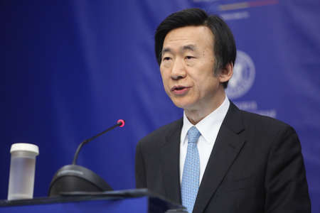 nato summit: Bucharest Romania, February 20, 2017: Yun Byung-se, Ministry of Foreign Affairs of the Republic of Korea speaks at a press conference after meeting his Romanian counterpart.