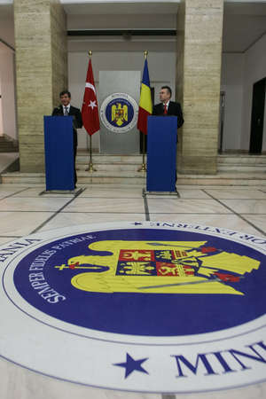 Bucharest, Romania, July 3, 2009: Turkish foreign minister Ahmet Davutoglu and his homologous Cristian Diaconescu, in a press conference in Bucharest.